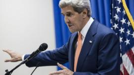 John Kerry at press conference in Baghdad