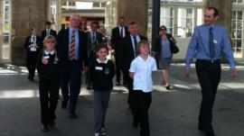 The Education Select Committee and School Reporters leave Hull station