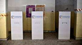 Photo released by the United Nations Support Mission in Libya (UNSMIL), shows an empty polling station during the parliamentary elections preparations at al-Khansa Girls