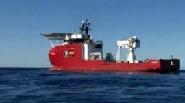A boat involved in the search for MH370
