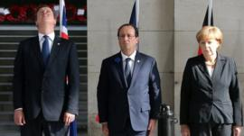 Cameron, Hollande and Merkel in Ypres