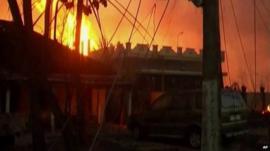 Fire burning in Nagaram, Andhra Pradesh