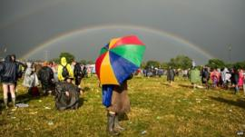 Rainbow appears over Glastonbury Festival site