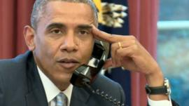 President Obama on phone to US football team