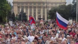 Pro-Russian demonstrators in Donetsk