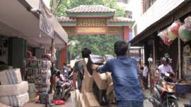 Shops and people in Jakarta's Chinatown