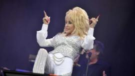 Dolly Parton on stage at Glastonbury