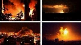 Images of explosions on Gaza skyline as shared on Twitter