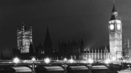 Black and white picture of Westminster in 1974