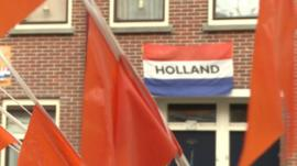 Dutch flag and orange flags