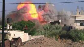 Gaza Strip building blown up