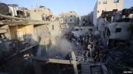 Scene of an air strike in Khan Younis