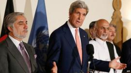 John Kerry with Afghan presidential candidates