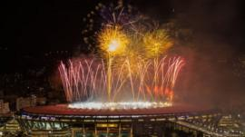 Fireworks are launcehd over the Maracana Stadium in Rio de Janeiro, Brazil