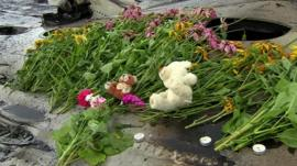 Flowers laid at crash site