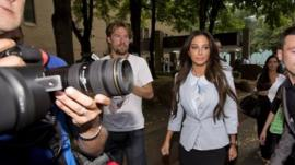 Tulisa leaving court