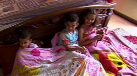 Naim Khatib's children huddle together