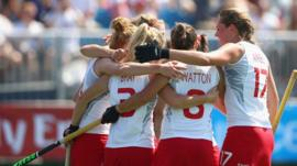 England's women hockey players celebrate during the 2-0 victory over Wales at the 2014 Commonwealth Games in Glasgow