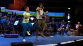 CBeebies stars with orchestra