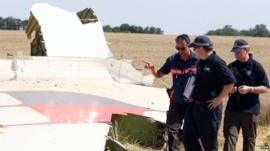 Forensic team at MH17 crash site