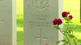 Gravestone of Private John Parr in Mons