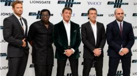Kellan Lutz, Wesley Snipes, Sylvester Stallone, Spanish actor Antonio Banderas and British actor Jason Statham arrive for the World Premiere of The Expendables 3