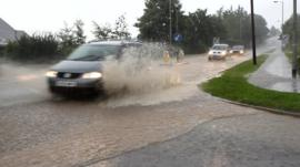 The heavy rain caused flooding on roads in parts of Cookstown and Magherafelt