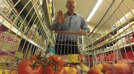 Steve Rosenberg and shopping trolley of produce