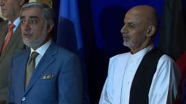 Abdullah Abdullah (left) and Ashraf Ghani