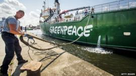 Greenpeace's ice breaker Arctic Sunrise docks in Beverwijk, the Netherlands