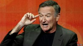Picture of Robin Williams speaking on July 29, 2013 about CBS series 'The Crazy Ones'