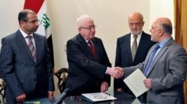 Haider al-Abadi being nominated as Iraq's prime minister-designate