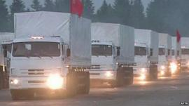 Ukraine aid convoy on the road