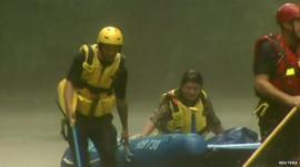 Stranded driver Ella Lichtenberg in rescue dinghy