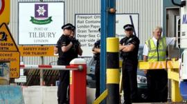 Police at Tilbury Docks on 16 August 2014