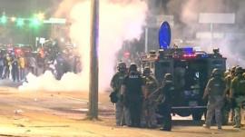 Riot police in Ferguson