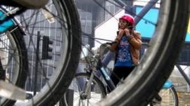 Tulip Mazumadar and bicycle wheels