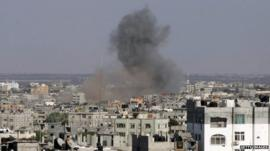 Smoke rises over Gaza