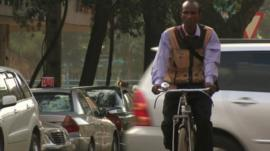 Cycle courier Joshua Agisa in Nairobi
