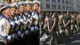 composite image of parades in Kiev and Donetsk