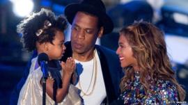 Blue Ivy, Jay Z and Beyonce at VMAs 2014