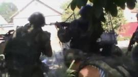 Unverified footage of fighting between Ukrainian forces and militants near Mariupol