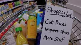 Shopping basket with handwritten shopping list of priorities for Tesco's new CEO