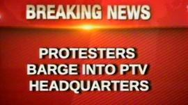 PTV headquarters screen shot of the moment the building was stormed