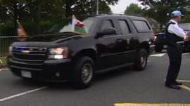 The president arriving