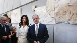 Amal Alamuddin Clooney and Greece's Minister of Culture and Sports Konstantinos Tasoulas