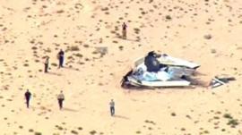 Rescue teams approach wreckage of Virgin Galactic SpaceShipTwo