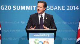 UK PM David Cameron at G20 summit in Brisbane, Australia