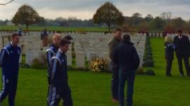 Wales players at staff at Artillery Wood Cemetery