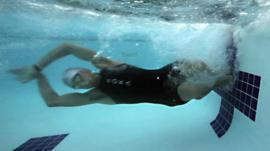 A swimmer underwater